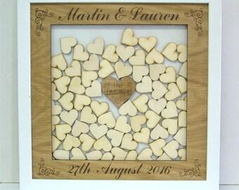 Personalised Wedding Guestbook Alternative Heart Drop Box wedding Decor Mahogany Finish  With Framed