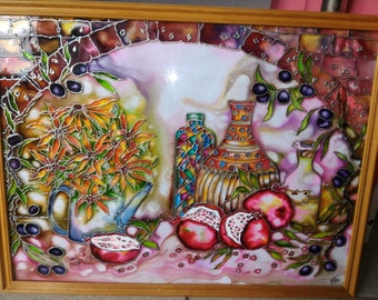Stained glass, Glass painting, Painting on glass with acrylic, Contour painting, a Still Life in the wooden frame, Flowers, Pomegranate
