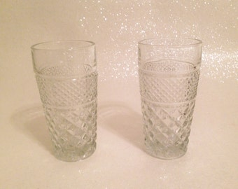 Cute Vintage Diamond Point Cut Glass Pineapple Tumblers Set of Two