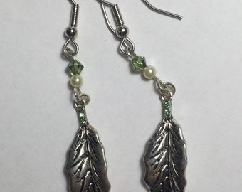 Feather Earrings With Green Crystals