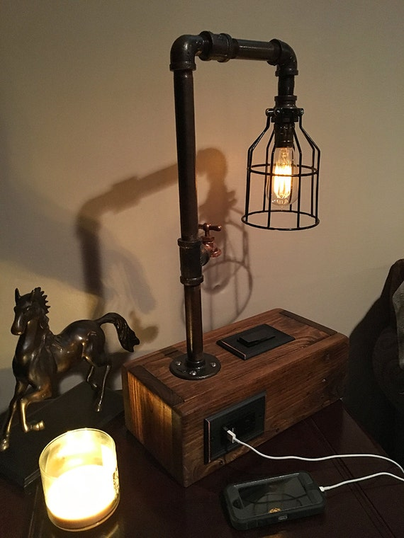 Rustic Industrial Table Lamp W 2 Usb Chargers And Outlet