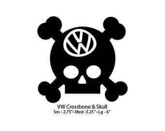 """VW Skull and Crossbones Decal - Large 4.5"""""""