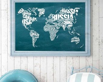 Chalkboard map etsy world map typography print world map instant download printable art chalkboard world map gumiabroncs Gallery