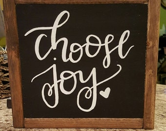 Framed signs, rustic signs, wooden signs, rustic decor, handmade signs, handpainted signs, handlettered signs, choose joy