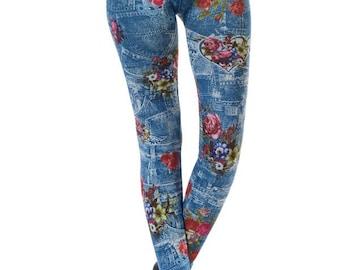 Rose Print Denim Leggings