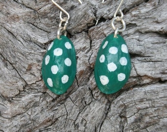 Green With White Polka Dot Drop Earings