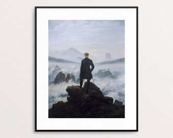 Wanderer Above the Sea of Fog - Caspar David Friedrich - Giclee Reproduction Print - Wanderer Above the Mist - Free Shipping to USA