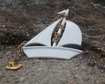 Enamel White Sail Boat Brooch Pin with Gold Tone Chain and Anchor Enamel Brooch Sail Boat Enamel Sail Boat Gold tone Anchor