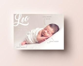 """Babykarte / Geburtsanzeige """"nude"""", DIN A6 quer"""