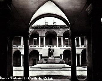 "Vintage 1960s Postcard Milano Italy Pavia Cortile dei Caduti Universita 4"" x 6"""