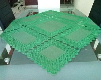 Patchwork dark green tablecloth