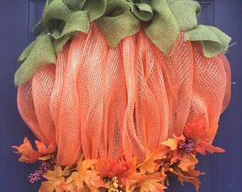 Pumpkin wreath, fall wreath, fall mesh wreath, halloween wreath, halloween mesh wreath, autumn wreath, deco mesh wreath, mesh pumpkin