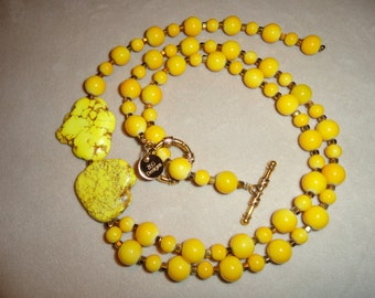 Yellow Beaded Y Necklace