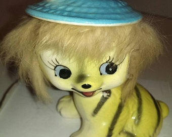 Porcelain Bobtail Cat, Yellow with Black Stripes, Furry Head, Blue Hat, Bradley Exclusives Stamped 1959