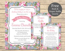 Blue Shabby Roses Baby Shower Printable Invitation, Book Insert & Diaper Insert, Floral Baby Shower Invite Package Pink Roses Download 001-B