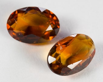 Natural Deep Orange Citrine, Matching Pair, Oval Mixed Cut, 4.87ct Total Weight