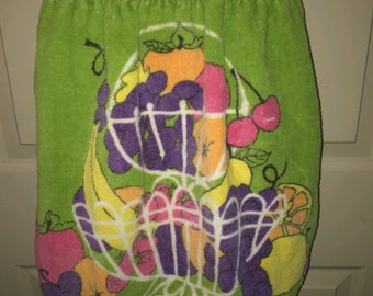 Vtg 1970s Fruit Basket Cotton Terry Cloth Tastemaker Apron
