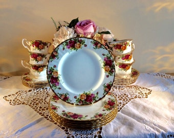 Set of 6 Royal Albert 1st Quality Old Country  Roses Salad Plates 1962