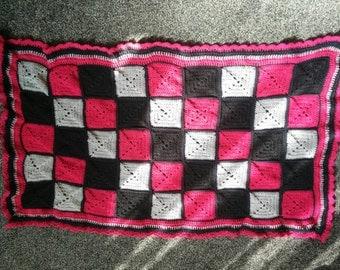 Pink, Black, Grey Granny square baby blanket
