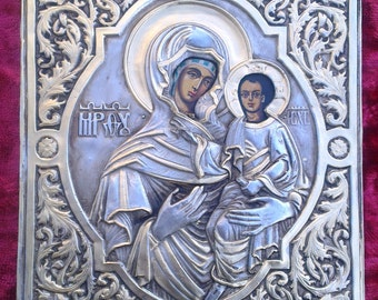 Russian orthodox hand painted icon of the Virgin Mary and baby Jesus