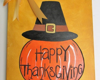 """Happy Thanksgiving, 16"""" x 20"""" Acrylic on Stretched Canvas, featuring a handmade bow"""