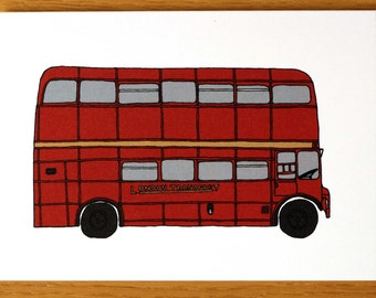Red London Bus - Notecard - London Notecards - London Theme Cards - London Themed Card - Bus Cards - London - London Greeting Cards