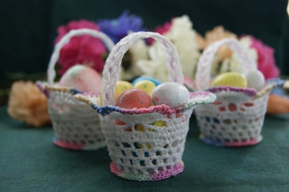 Crochet Lace Mini Basket for Easter