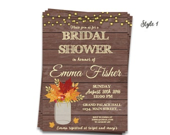 Fall Bridal Shower Invitations, Rustic Mason Jar Bridal Shower Invite, Autumn Leaves Baby Shower ideas, Rustic String Lights DIY invites