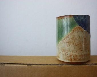 Blue and green ceramic tumbler - beautiful handmade clay pottery - functional stoneware