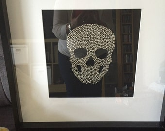 Large Swarovski crystal Skull picture in black box frame 50 cm by 50 cm