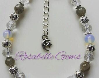 Hormones Bracelet, Labradorite Bracelet, Moonstone Bracelet, Rainbow Moonstone, Gemstone Bracelet, Gemstone, Hormonal Balance, Gift For Her
