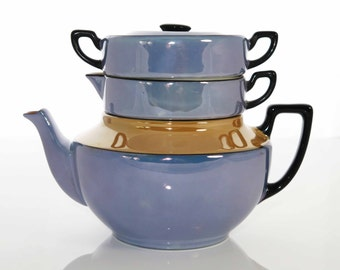 Vintage Stacked Teapot Set, Blue Lusterware, Tea Set, Atlas Czechoslovakia China