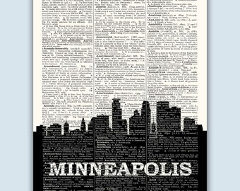 Minneapolis Skyline, Minneapolis Poster, Minneapolis Decor, Minneapolis Print, Minneapolis Gift, Minnesota Decor, Wedding Gift