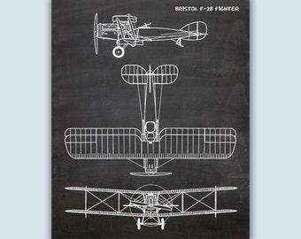 Aviation Poster, Aviation Wall Art, Chalkboard Print, Airplane Decor, Pilot Gift, Airplane Art, Airplane Poster, Bristol F-2B Fighter Print