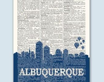 Albuquerque Skyline, Albuquerque Print, Albuquerque Art, Albuquerque Gift, Albuquerque Poster, Albuquerque Wall Art, New Mexico Decor