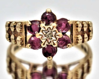 Vintage Diamond And Ruby Cluster Ring, 9ct Gold, Free Shipping.
