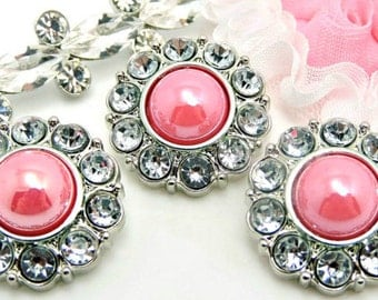 Shiny Pink  Pearl Buttons W/ Crystal Clear Surrounding Rhinestones Wedding Bridal Buttons Garment Coat Button Sewing Button 25mm 2997 37P 2R
