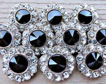 Wholesale Black Rhinestone Buttons W/ Clear Surrounding Rhinestones Acrylic Buttons DIY Embellishments Sewing Dress Buttons 25mm 2997 1 2R