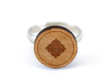 Hydrangea Ring, Wooden Ring, Gift For Him or Her, Wedding Gifts, Groomsman Gifts, and Personalized