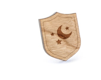 Moon And Star Lapel Pin, Wooden Pin, Wooden Lapel, Gift For Him or Her, Wedding Gifts, Groomsman Gifts, and Personalized