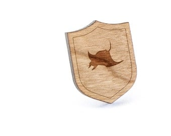 Manta Ray Lapel Pin, Wooden Pin, Wooden Lapel, Gift For Him or Her, Wedding Gifts, Groomsman Gifts, and Personalized
