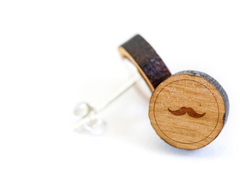 Mustache Stud Earring, Wooden Earring, Gift For Him or Her, Wedding Gifts, Groomsman Gifts, Bridesmaid Gifts, and Personalized