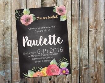 Floral Chalkboard Invitation