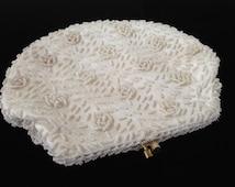 Vintage Ivory Beaded Handbag-Ivory Floral Evening Bag-Vintage Rosette Beaded Purse-Vintage Floral Beaded Clutch-Bridal Purse-Vintage Wedding