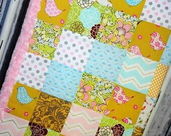 Pink Minky, patchwork, nursery, baby girl, quilt