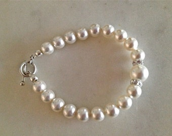 Swarovski Elements White Pearl Crystal Bracelete with Sterling SIlver Clasp