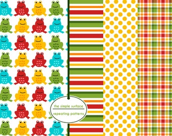 digital scrapbook papers - red, blue, green and orange, frog, stripe, polka dot and plaid patterns - INSTANT DOWNLOAD