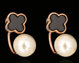 Pearl simulated, Rose Gold Plated Earrings