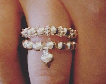 Silver Bead Ring Stack