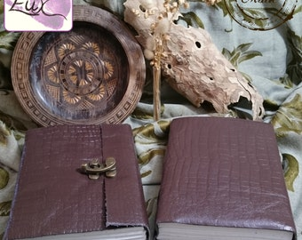 Handmade Crocodile-Effect Embossed Leather Journal / Notebook with a Brass C-Lock to Close